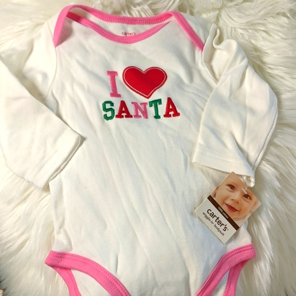 CARTER'S I Heart Santa White Bodysuit 9 month NEW